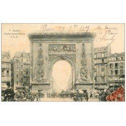carte postale ancienne PARIS 10. Boulevard Porte Saint-Denis Cabinet de Dentiste à l'étage 1907