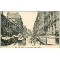 carte postale ancienne PARIS 10. Faubourg du Temple au niveau du Bal 1917