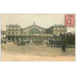 carte postale ancienne PARIS 10. Gare de l'Est 1906 Hippomobile à Impériale