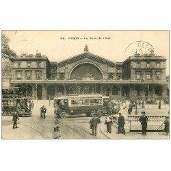 carte postale ancienne PARIS 10. Gare de l'Est 1915 Tramway sur rail et Autobus à plateforme. Bouche du Métropolitain