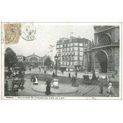 carte postale ancienne PARIS 10. Gare de l'Est et Boulevard de Strasbourg 1903