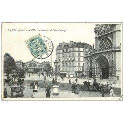 carte postale ancienne PARIS 10. Gare de l'Est et Boulevard de Strasbourg 1907