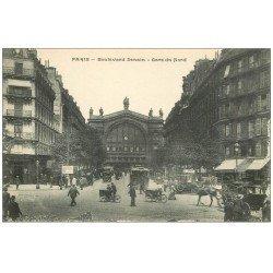 carte postale ancienne PARIS 10. Gare du Nord et Boulevard Denain