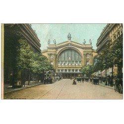 carte postale ancienne PARIS 10. Gare du Nord et Boulevard Denain 1907