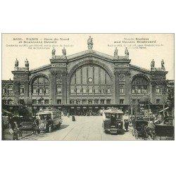 carte postale ancienne PARIS 10. Gare du Nord et Boulevard Denain Autobus à plateforme arrière