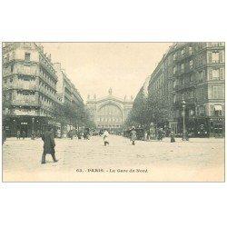 carte postale ancienne PARIS 10. Gare du Nord et Boulevard Denain vers 1900