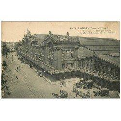 carte postale ancienne PARIS 10. Gare du Nord Place de Roubaix rue de Dunkerque