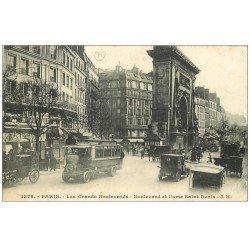 carte postale ancienne PARIS 10. Grands Boulevards Porte Saint-Denis 1936 Autobus Ford