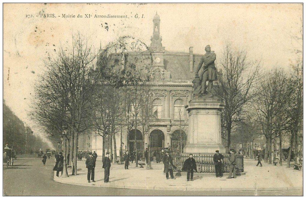 carte postale ancienne PARIS 11. La Mairie 1904