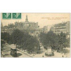 carte postale ancienne PARIS 11. La Mairie et Tramway à étage 1908
