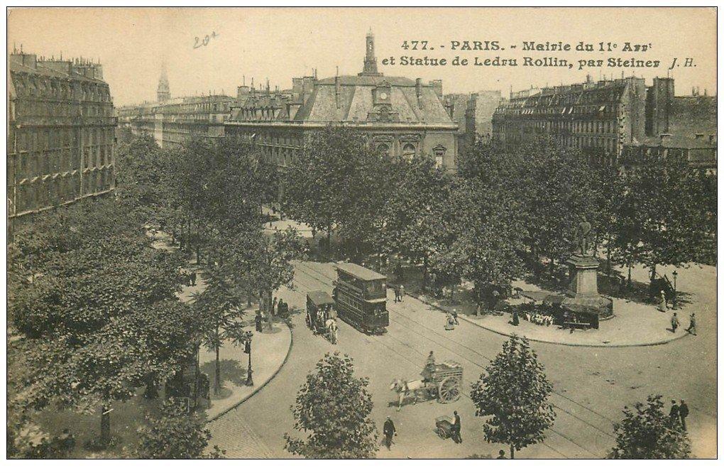 carte postale ancienne PARIS 11. La Mairie et Tramway à étage Statue Rollin 477