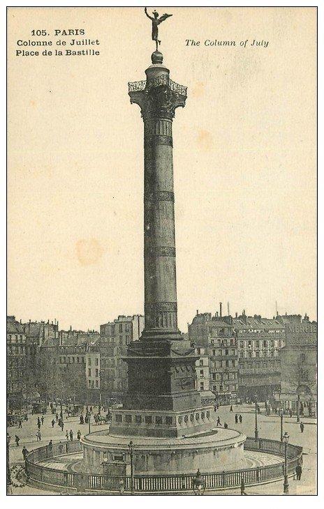 carte postale ancienne PARIS 11. Place de la Bastille 105