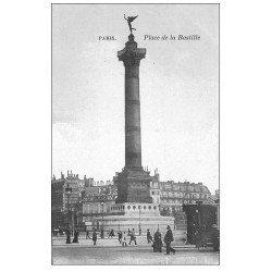 carte postale ancienne PARIS 11. Place de la Bastille bleutée