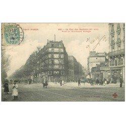 carte postale ancienne PARIS 11. Rue des Boulets et boulevard Voltaire 1906