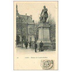 carte postale ancienne PARIS 11. Statue Ledru-Rollin Place Voltaire 1903