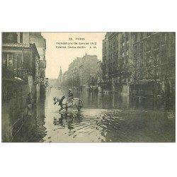 carte postale ancienne PARIS 12. Cheval Avenue Ledru-Rolin inondations de 1910