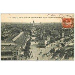carte postale ancienne PARIS 12. Gare de Vincennes et Gare de Lyon 1911 station Nogent