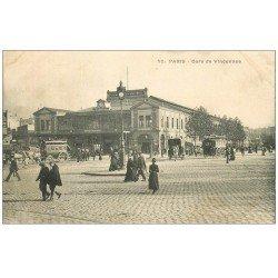 carte postale ancienne PARIS 12. Gare de Vincennes vers 1900 Place de la Bastille
