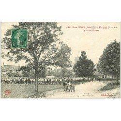 carte postale ancienne 10 CELLES-SUR-OURCE. Le Pré du Château 1916. Enfants et Militaires