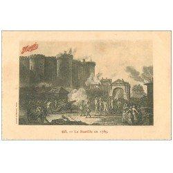 carte postale ancienne PARIS 12. La Bastille en 1789. Carte Maggi bords dentelés