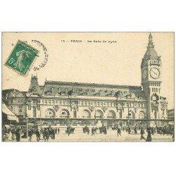 carte postale ancienne PARIS 12. La Gare de Lyon 1911