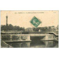 carte postale ancienne PARIS 12. Le Métropolitain à la Bastille 1911