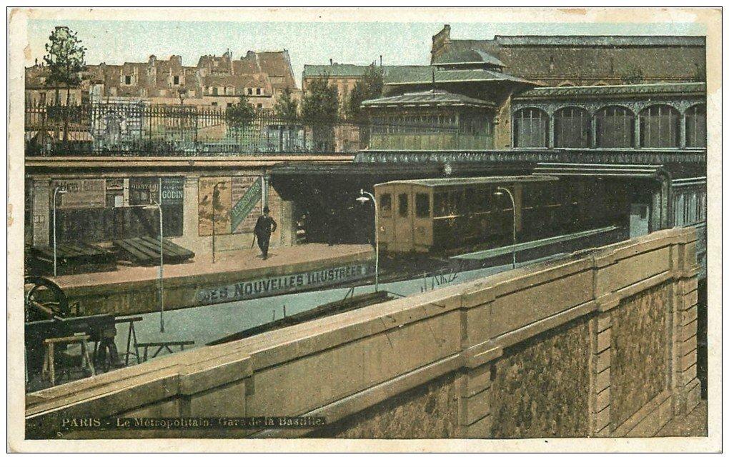 carte postale ancienne PARIS 12. Le Métropolitain Gare de la Bastille 1910