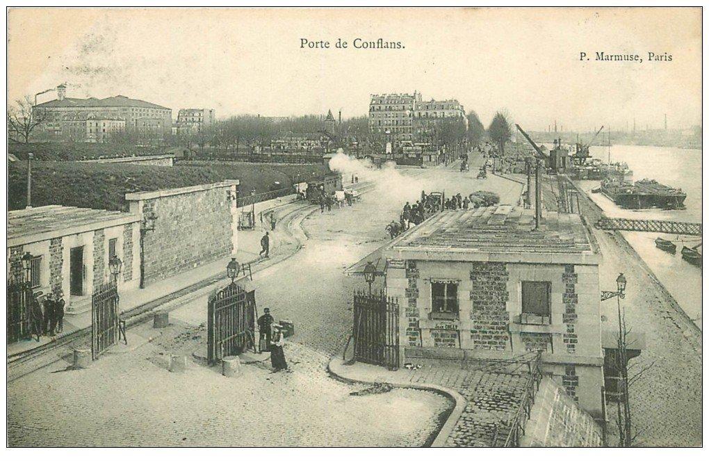 carte postale ancienne PARIS 12. Octroi Porte de Conflans Tramway à vapeur et Péniches 1903. Porte de Charenton actuellement