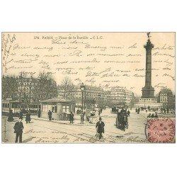 PARIS 12. Place de la Bastille 1904 arrêt des Tramways et Bus