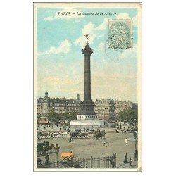 carte postale ancienne PARIS 12. Place de la Bastille 1906 carte émaillographie