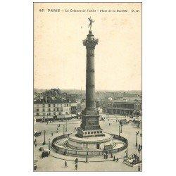 carte postale ancienne PARIS 12. Place de la Bastille 1914
