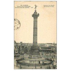 carte postale ancienne PARIS 12. Place de la Bastille 1925