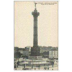 carte postale ancienne PARIS 12. Place de la Bastille et ouche Métropolitain