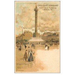 carte postale ancienne PARIS 12. Place de la Bastille. Chocolat Lombart Boulevard de la Madeleine