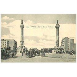 carte postale ancienne PARIS 12. Place de la Nation attelages vers 1900