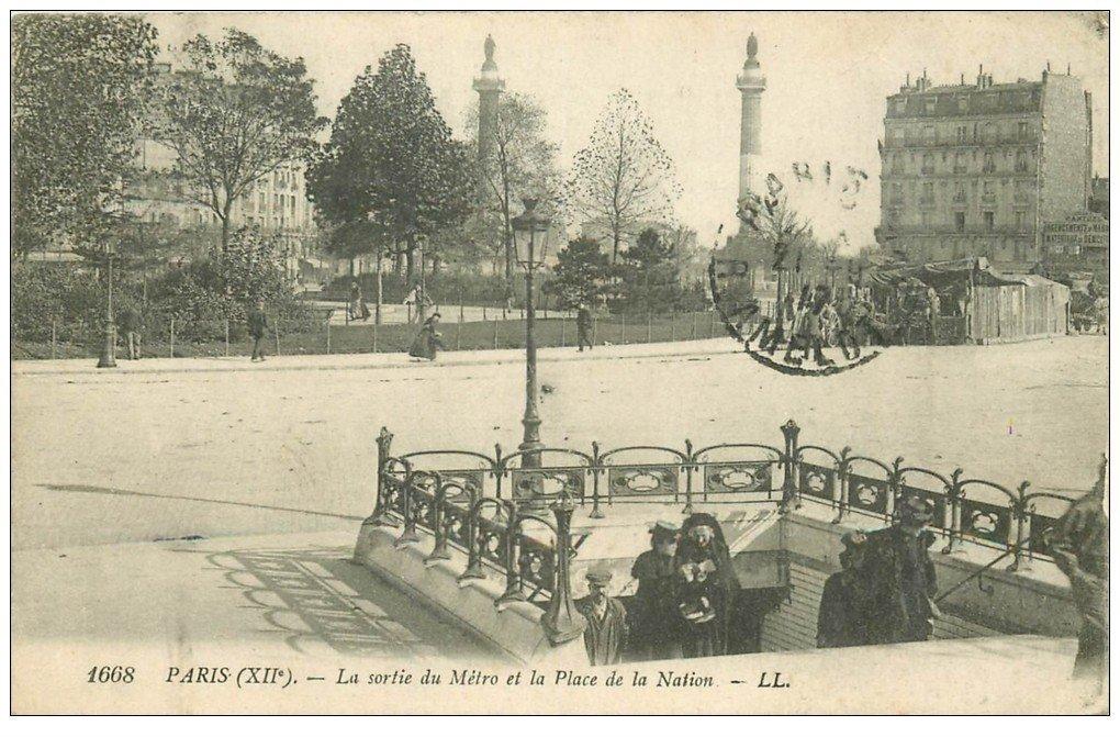PARIS 12. Place de la Nation la Sortie du Métropolitain 1917
