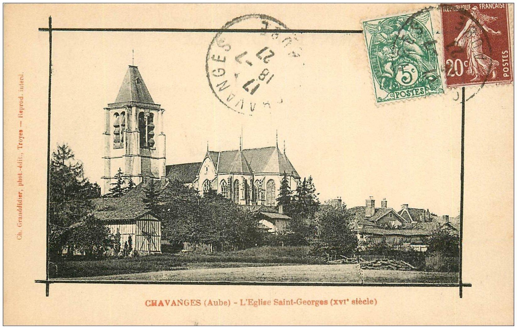 carte postale ancienne 10 CHAVANGES. Eglise Saint-Georges 1927