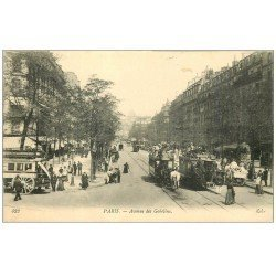 carte postale ancienne PARIS 13. Hippomobiles Bus à Impériale Avenue des Gobelins 1912