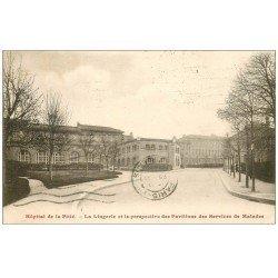 carte postale ancienne PARIS 13. Hôpital de la Pitié Lingerie et Pavillons des Services de Malades 1933