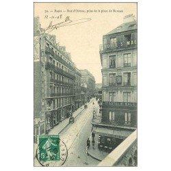 carte postale ancienne PARIS 14. Café et Hôtel Saint-Malo rue d'Odessa 1908