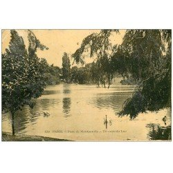 carte postale ancienne PARIS 14. Cygnes au Lac Parc Montsouris 1910