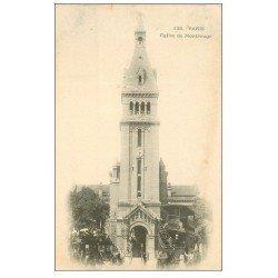 carte postale ancienne PARIS 14. Eglise de Montrouge vers 1900 Tramway à Impériale