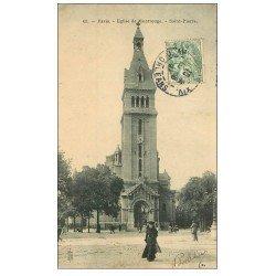 carte postale ancienne PARIS 14. Eglise Montrouge Saint-Pierre 1907