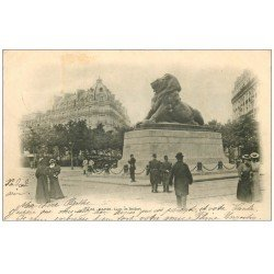 carte postale ancienne PARIS 14. Le Lion de Belfort 1901
