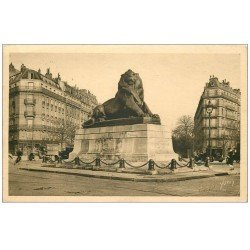 carte postale ancienne PARIS 14. Le Lion de Belfort 1931 Pharmacie Bouloy