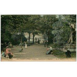 PARIS 14. Monument Charlet Place Denfert 1905. Carte émaillographie (donc tendance à se recroqueviller)...