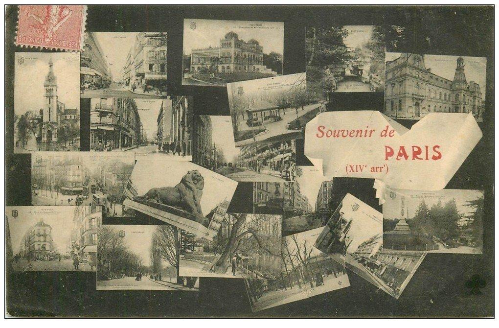 carte postale ancienne PARIS 14. Multivues 1906