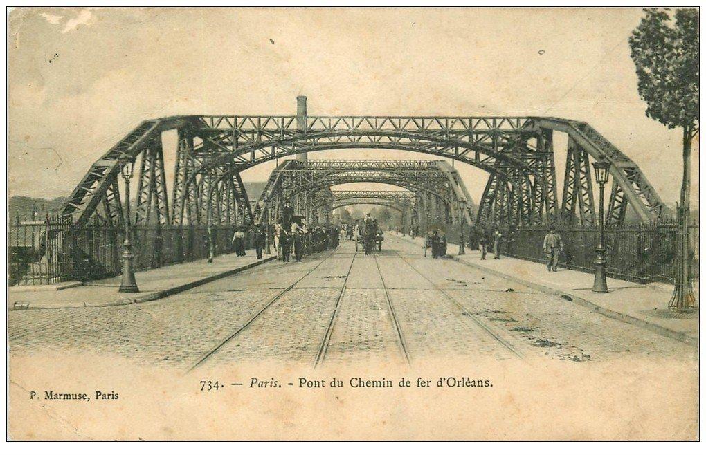PARIS 14. Procession Funéraire Pont du Chemin de Fer d'Orléans 1906. Etat moyen...