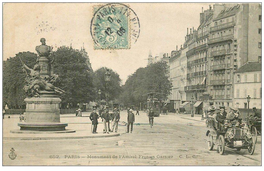 PARIS 14. Superbe Voiture ancienne et Monument Garnier 1906