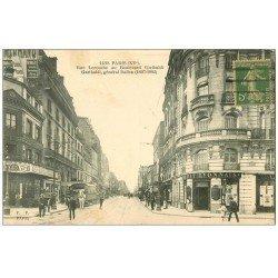 carte postale ancienne PARIS 15. Banque Crédit Lyonnais rue Lecourbe et boulevard Garibaldi 1917